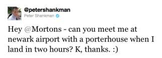 Shankman jokingly orders a steak via Twitter